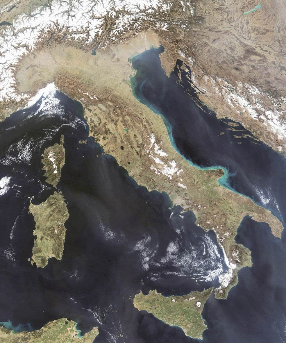 satellite image of italy